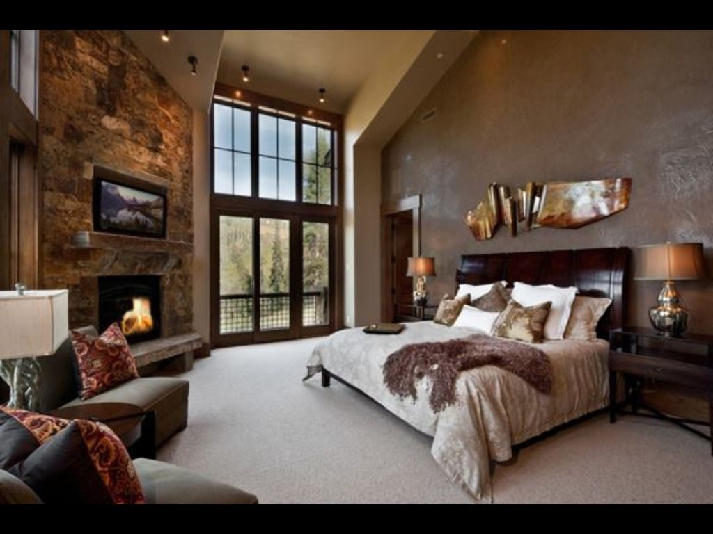 Stonework Cosy Bedroom Fireplace Warm Colours It Has Everything