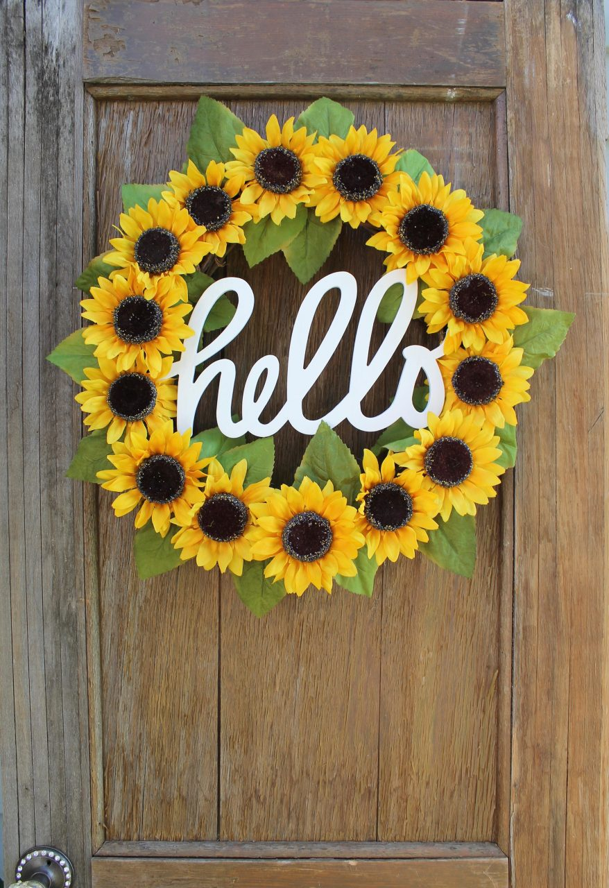Sunflower Wreath Spring Wreath Summer Wreath Hello Wreath Etsy