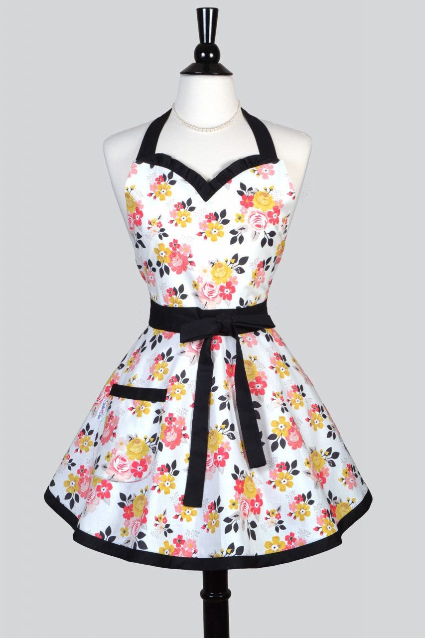 Sweetheart Pinup Womans Apron Vintage Daydream Floral A Riley