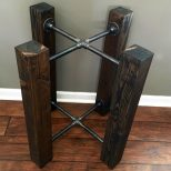 Table Base Solid Wood Beam Iron Pipe Roundsquare Dining Custom