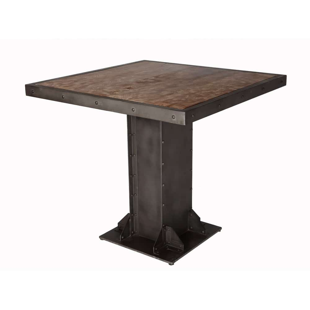 Telford Industrial Square Dining Table Solid Wood Top Metal Base
