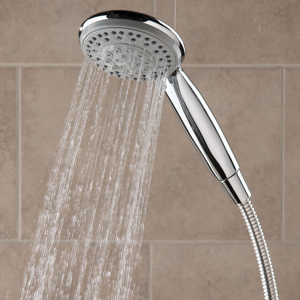 The Superior Pressure Boosting Handheld Showerhead Hammacher Schlemmer