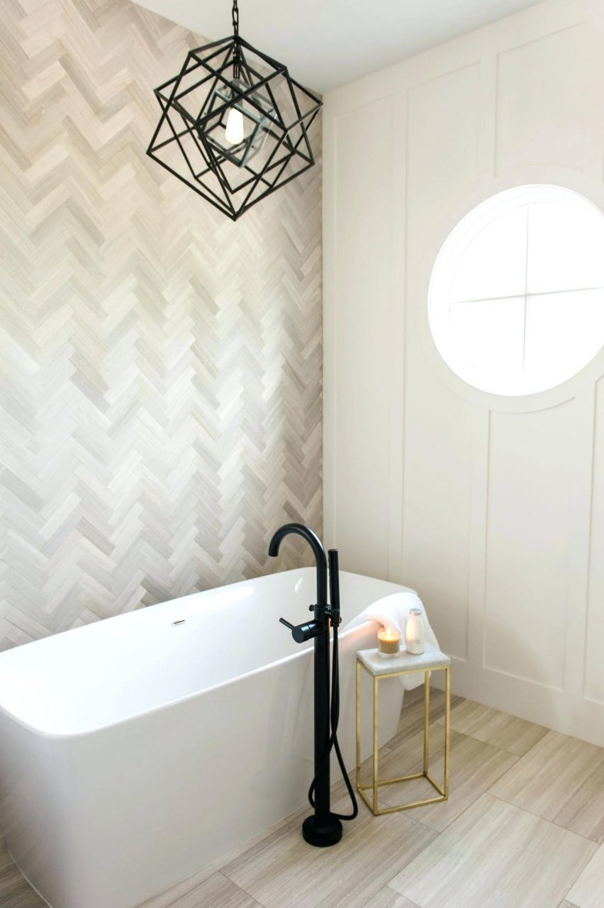 Tile Accent Wall In Bathroom Neutral Stone Tile Batuhanclub