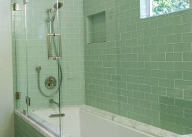 Green Glass Subway Tile Bathroom