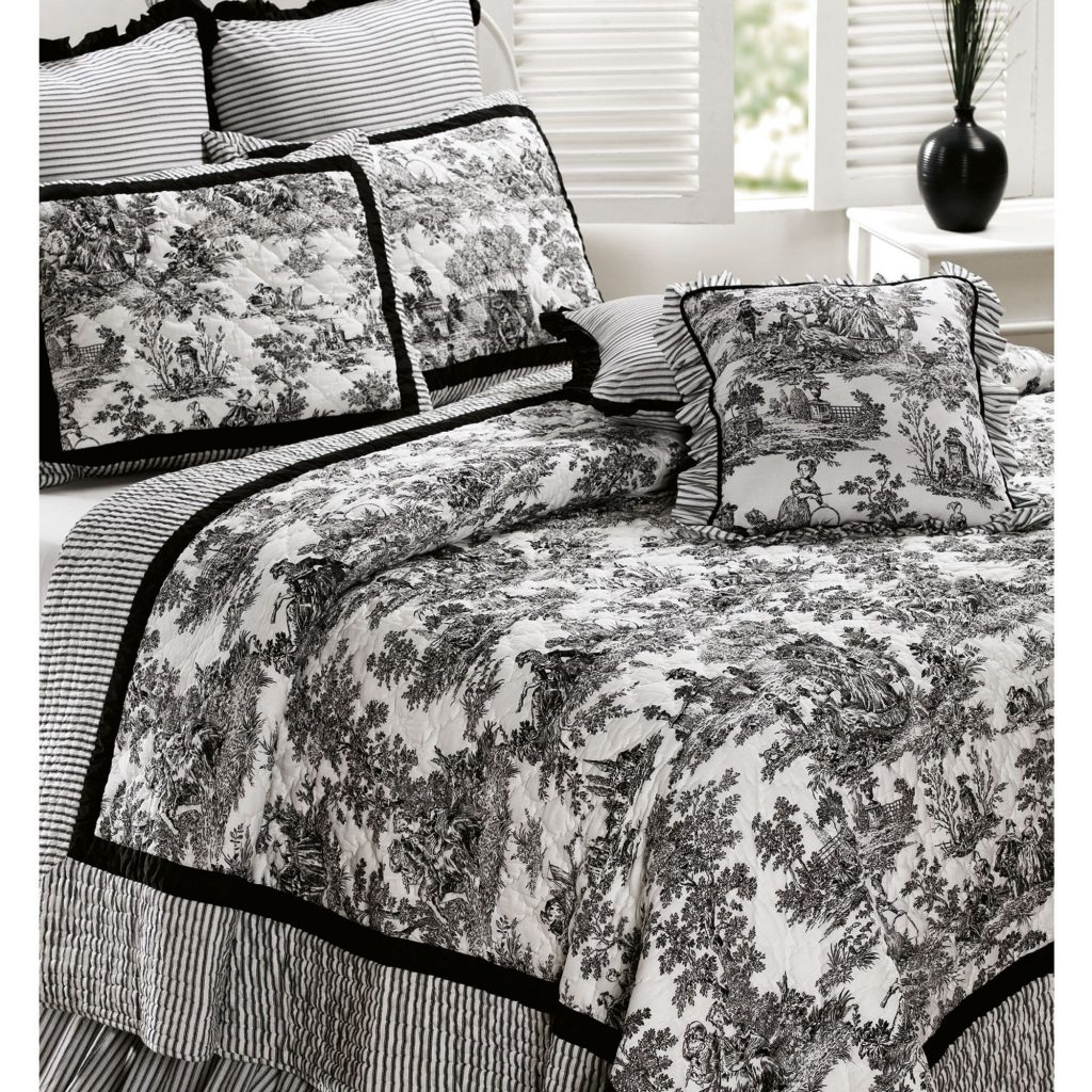 Toile De Jouy Cotton Quilt Bedding Spilveni Toile Bedding Black