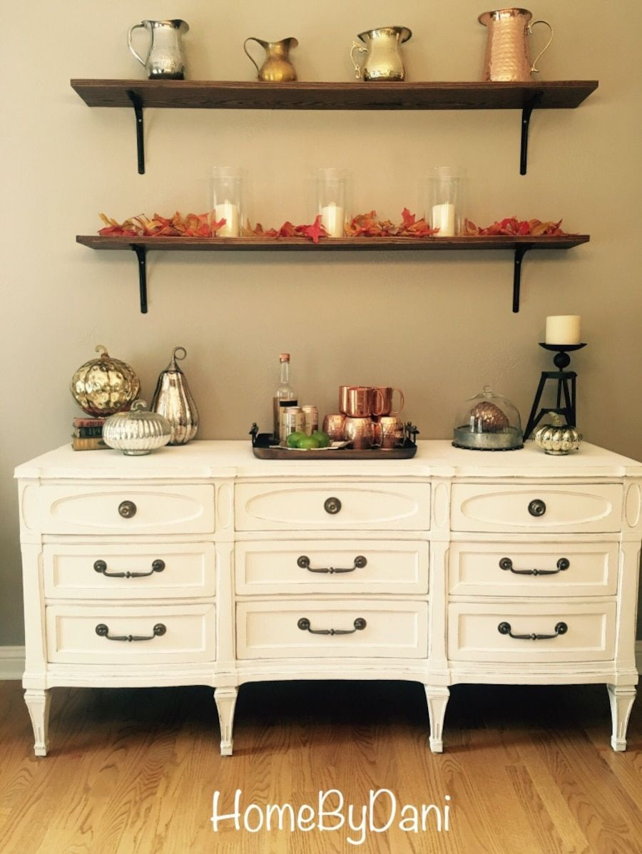 Used White Refinished Antique Buffetsideboard For Sale In Long