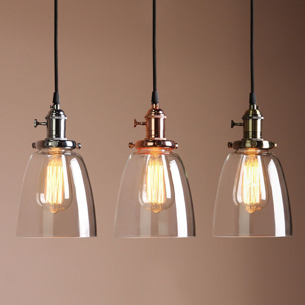 Vintage Industrial Ceiling Lamp Cafe Glass Pendant Light Shade Light
