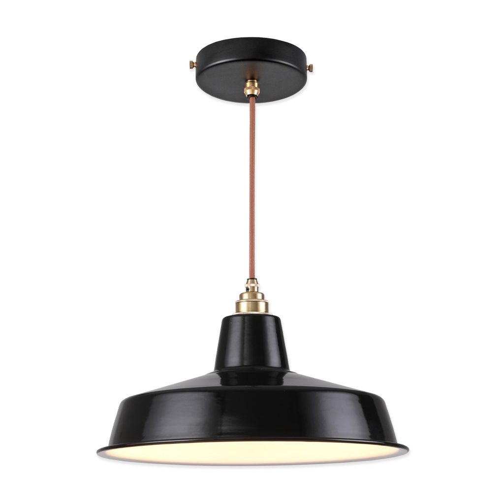 Vintage Industrial Pendant Light With Black Classic Cap Enamel