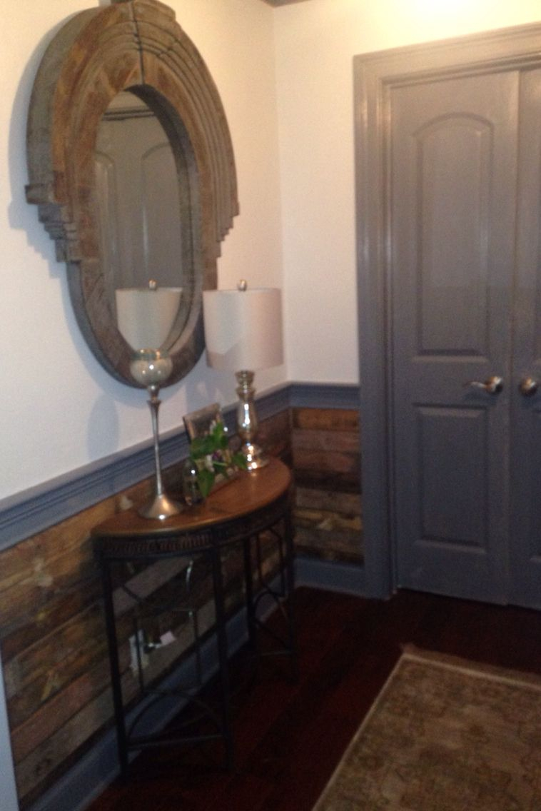 Vintage Pallet Wainscoting Rustic Chic Foyer J Holland Interiors