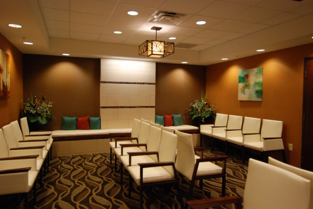 Waiting Room Space With Warm Interior Color Scheme And Soft Lighting
