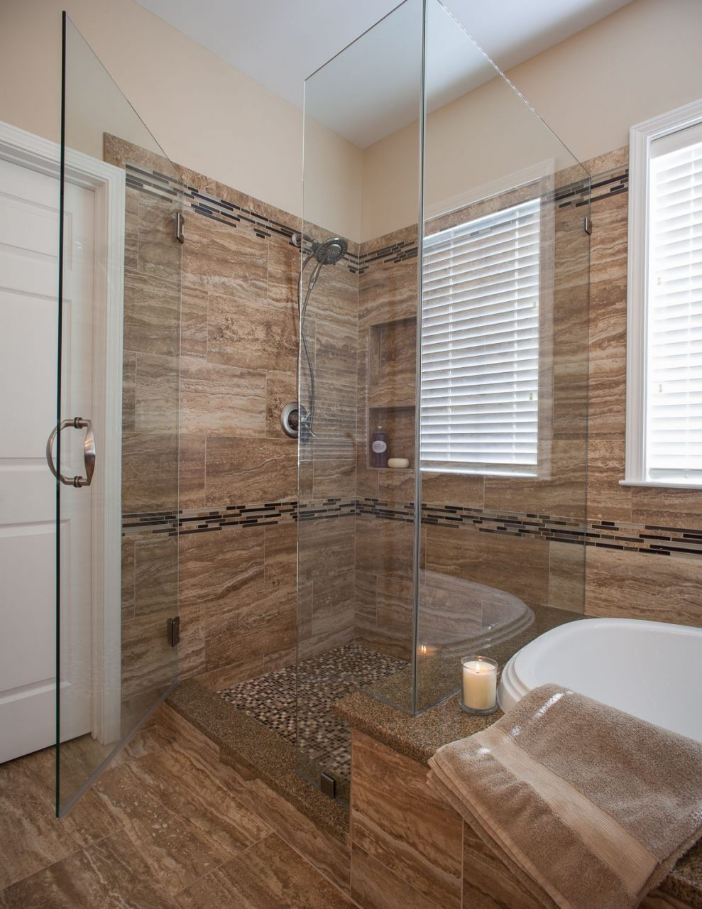 Walk In Shower Ideas For Master Bathroom With Glass Divider And