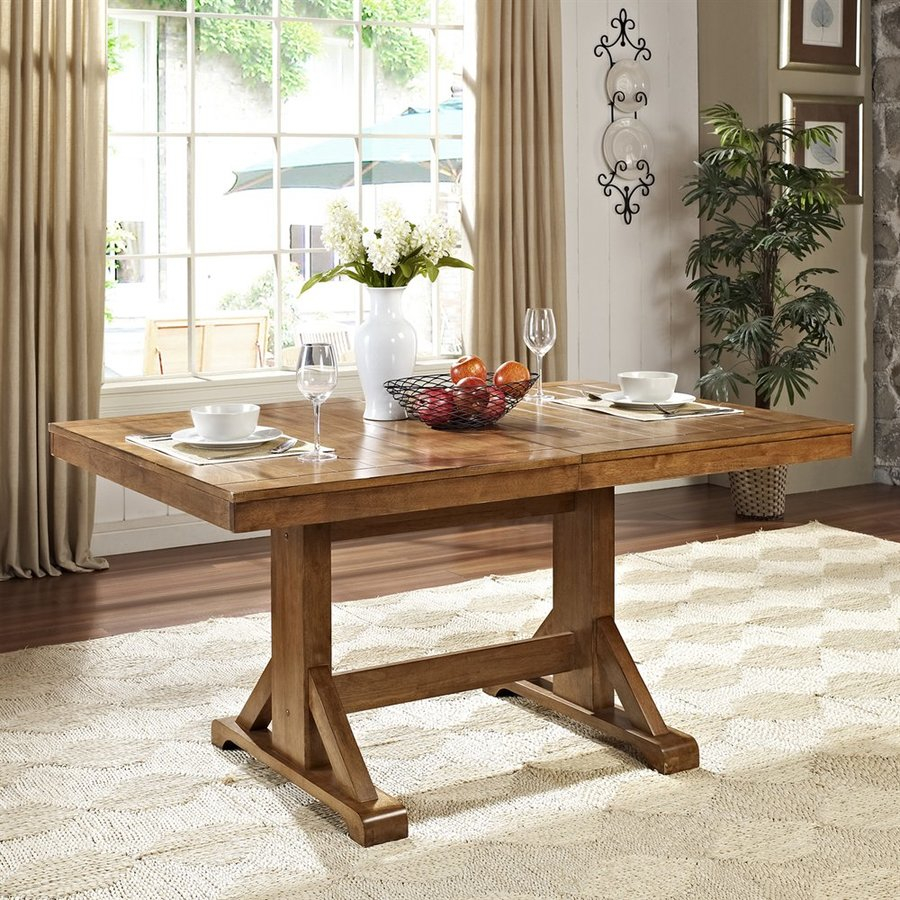 Walker Edison Antique Brown Wood Extending Dining Table At Lowes