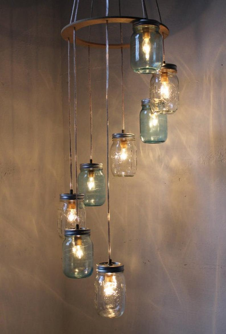 Waterfall Splash Mason Jar Chandelier Handcrafted Hanging Etsy