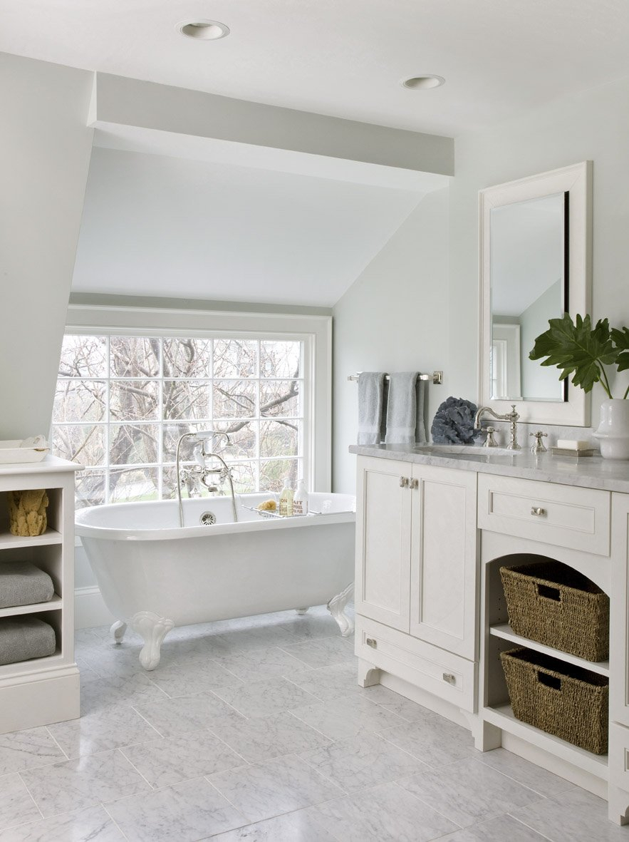 White Bathroom Decoration Using White Double Bathroom Vanity White