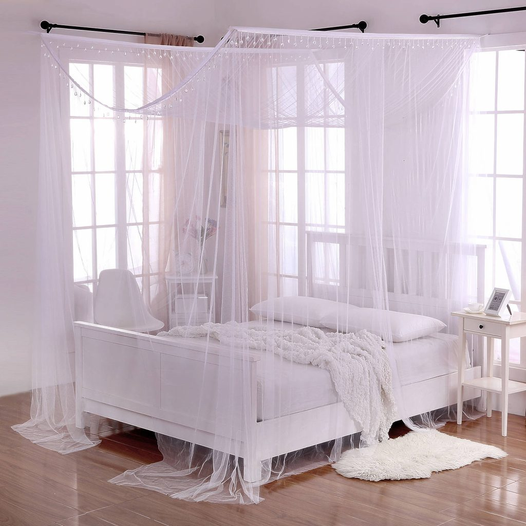 White Crystal Palace 4 Post Bed Sheer Mosquito Net Panel Canopy