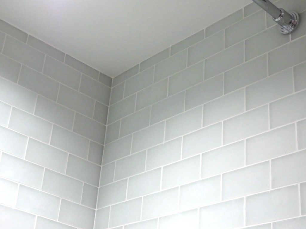 White Glass Subway Tile With Frost Grout Google Search Kitchen