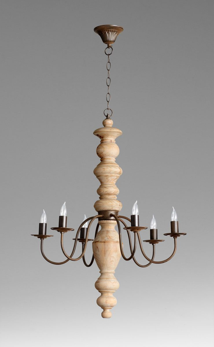 Wilshire 6 Light Chandelier 335h X 25dia Rustic And White Oak