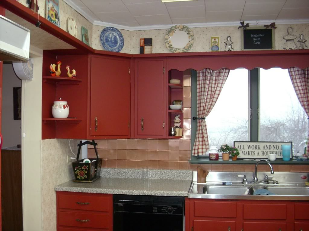 Wonderful Barn Red Kitchen Cabinets And Barn Style Kitchen Cabinets