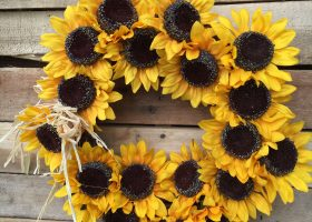Fall Wreath with Sunflowers
