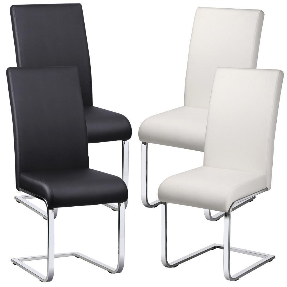 2 X Faux Leather Dining Room Chair Modern High Backchrome Legs