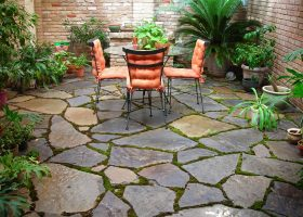 Flagstone Patio with Moss