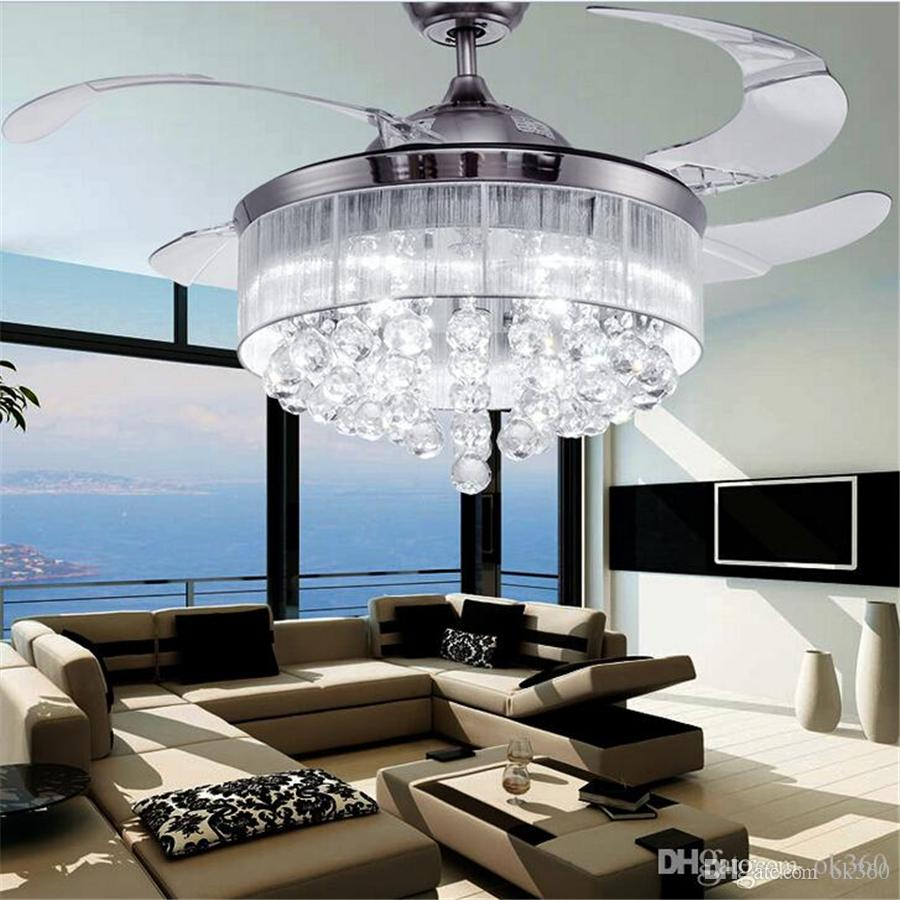 2019 Led Ceiling Fans Light Ac 110v 220v Invisible Blades Ceiling