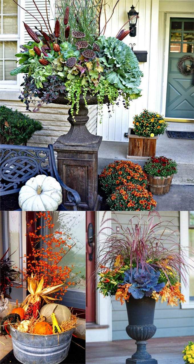 22 Beautiful Fall Planters For Easy Outdoor Fall Decorations A
