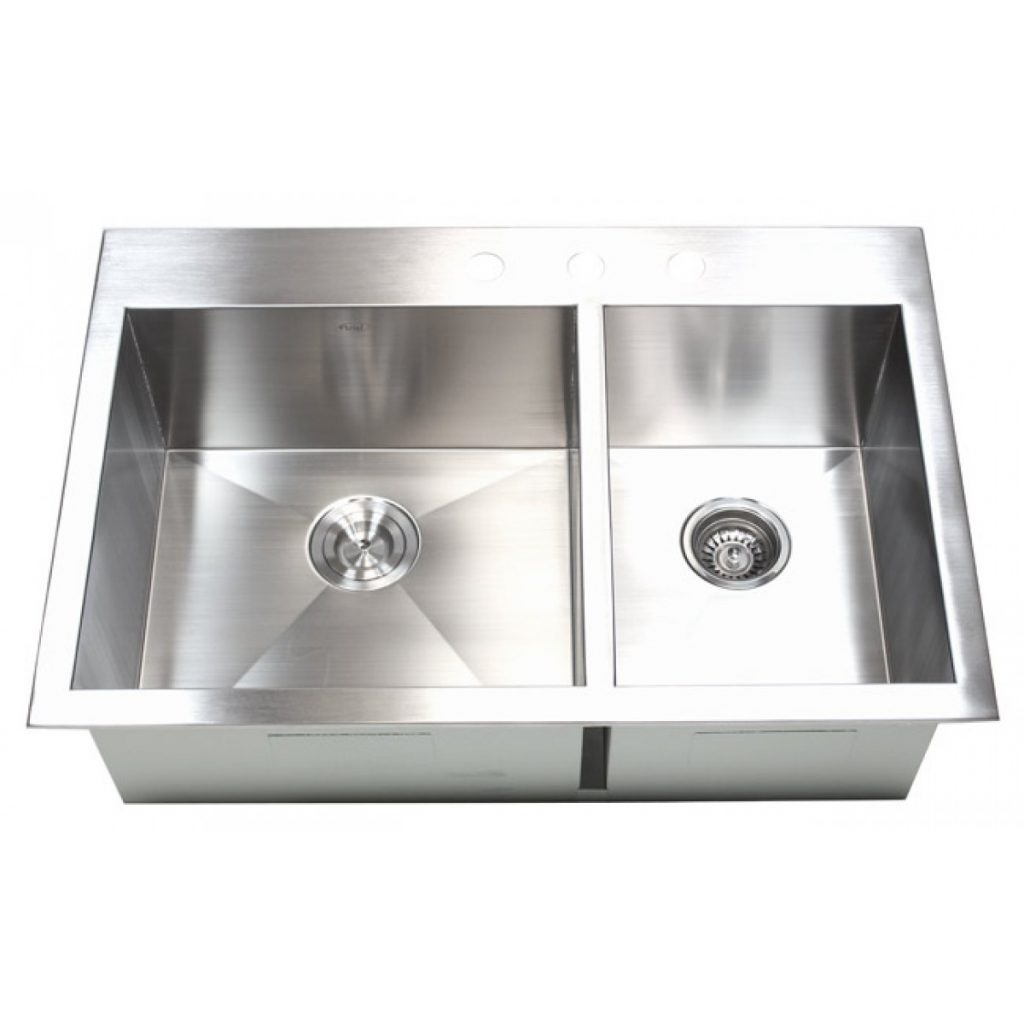 33 Inch Top Mount Drop In Stainless Steel 6040 Double Bowl