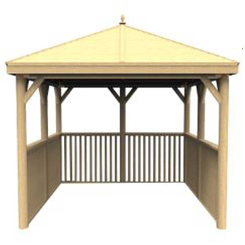 35m Square Wooden Hot Tub Gazebo With Traditional Timber Roof No Base