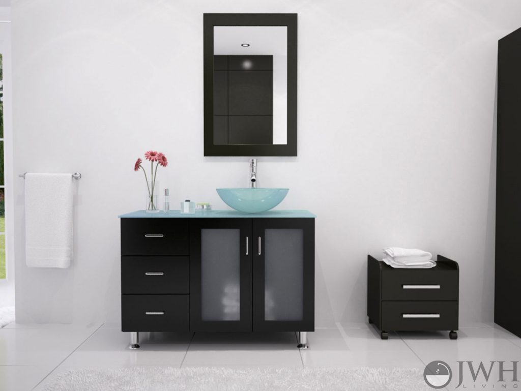 39 Lune Vanity With Green Glass Top And Bowl Espresso Bathgems