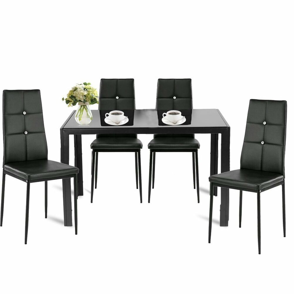 4x Dining Room Chairs Vintage Black Faux Leather Smooth High Back