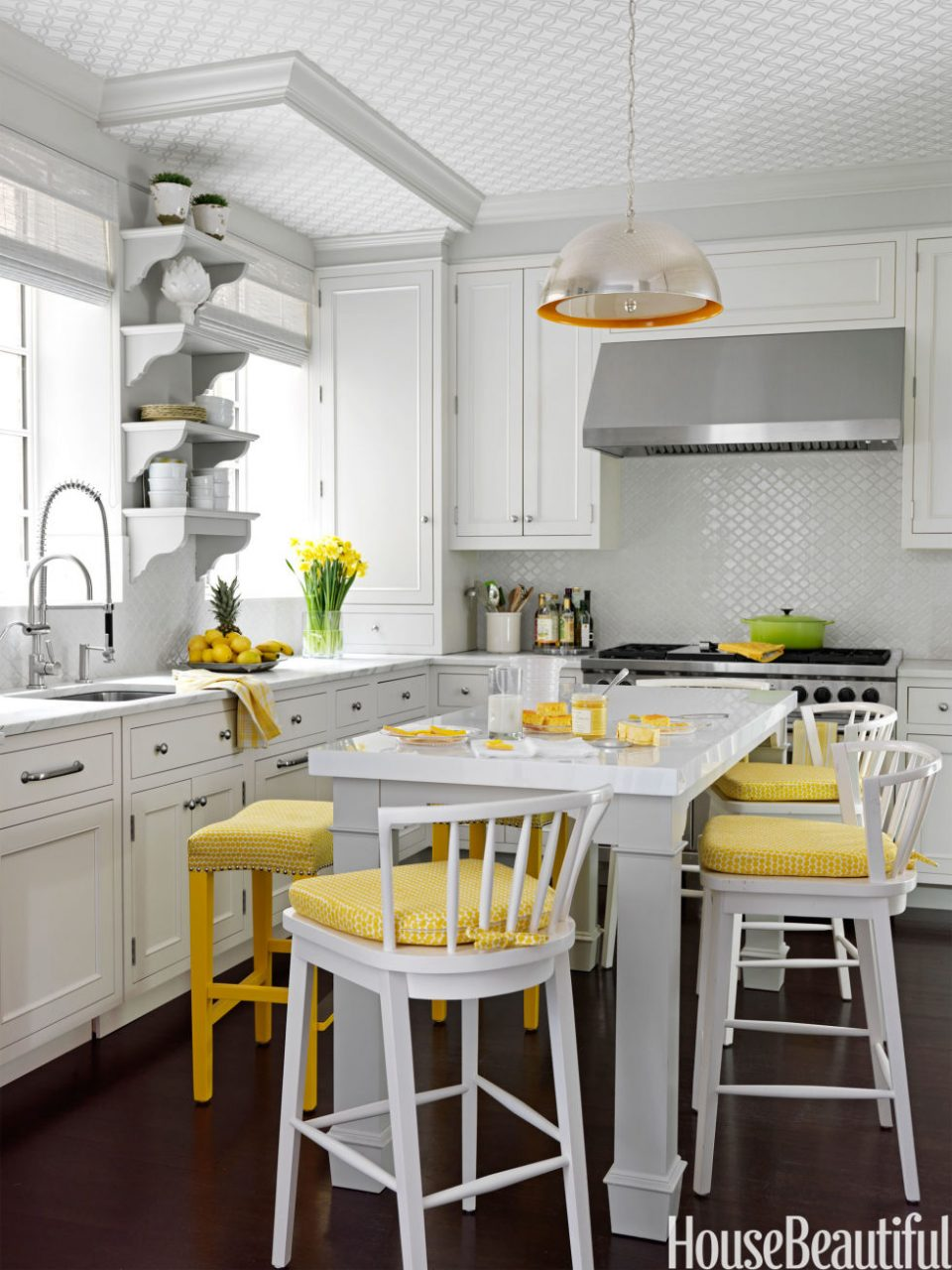 54 White Kitchen With Yellow Accents The Glam Pad 25 Classic White