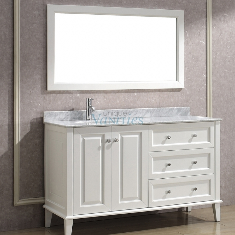 55 Inch Single Bath Vanity With Offset Sink On Left Side