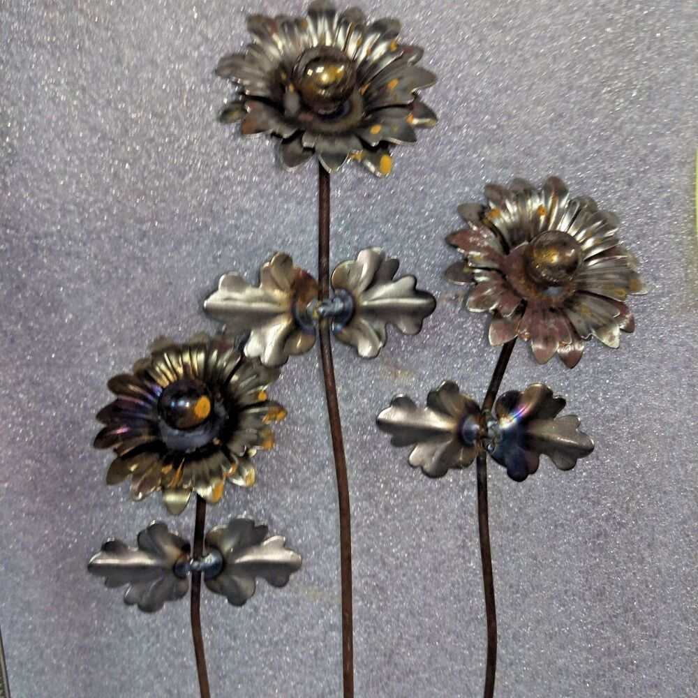 6 Rustic Metal Flowers Self Taught Artist Listed Garden Brut Art