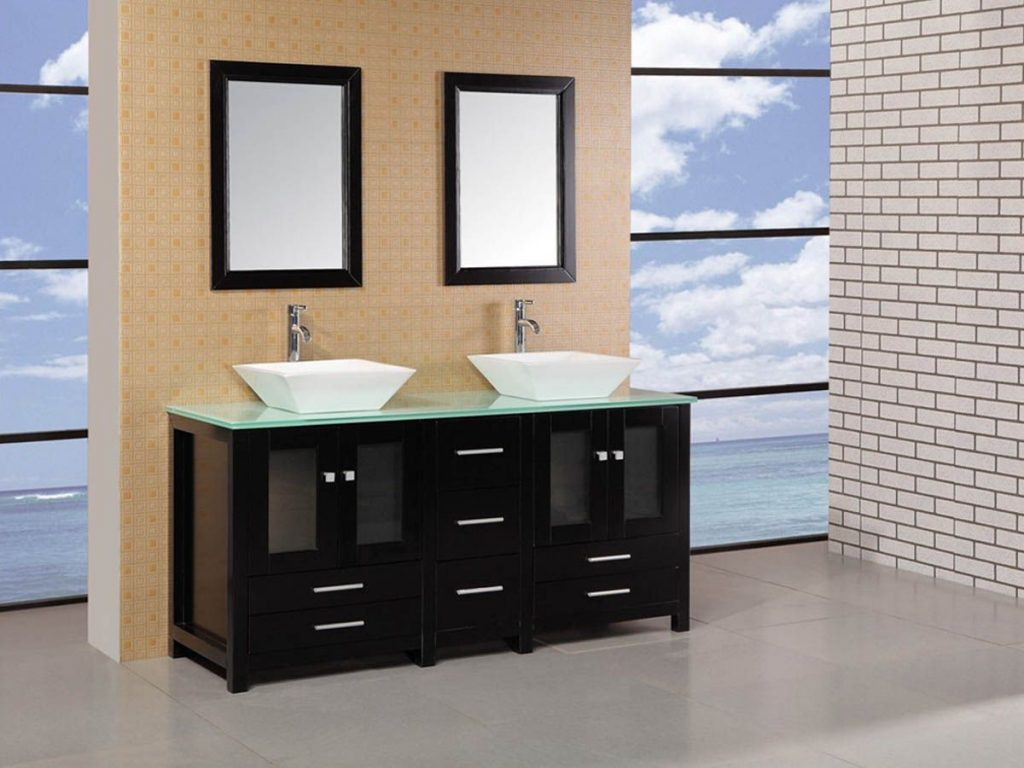 61 Arlington Double Vessel Sink Vanity Glass Top