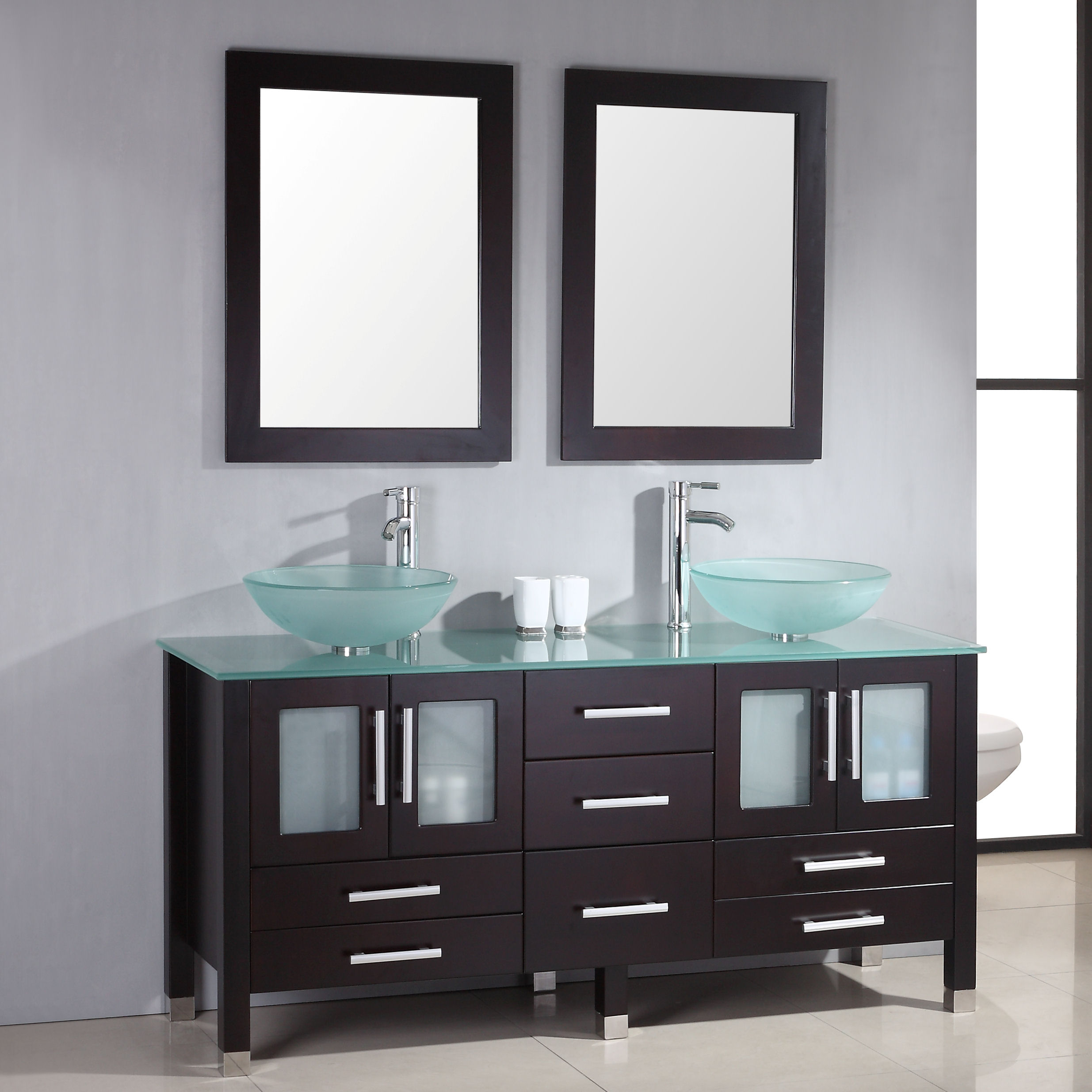 71 Solid Wood Glass Double Vessel Sink Vanity Set With Polished