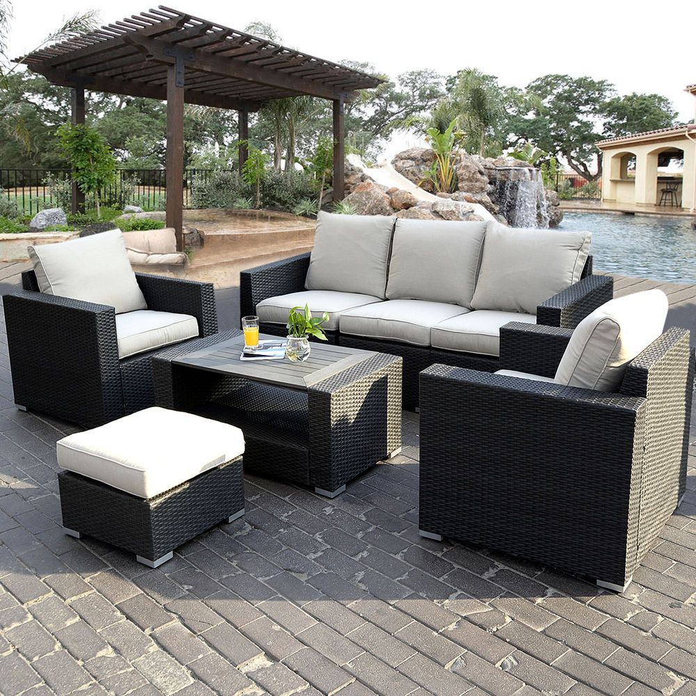 7pc Outdoor Patio Patio Sectional Furniture Pe Wicker Rattan Sofa
