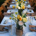 Rustic Wedding Table Settings with Yellow