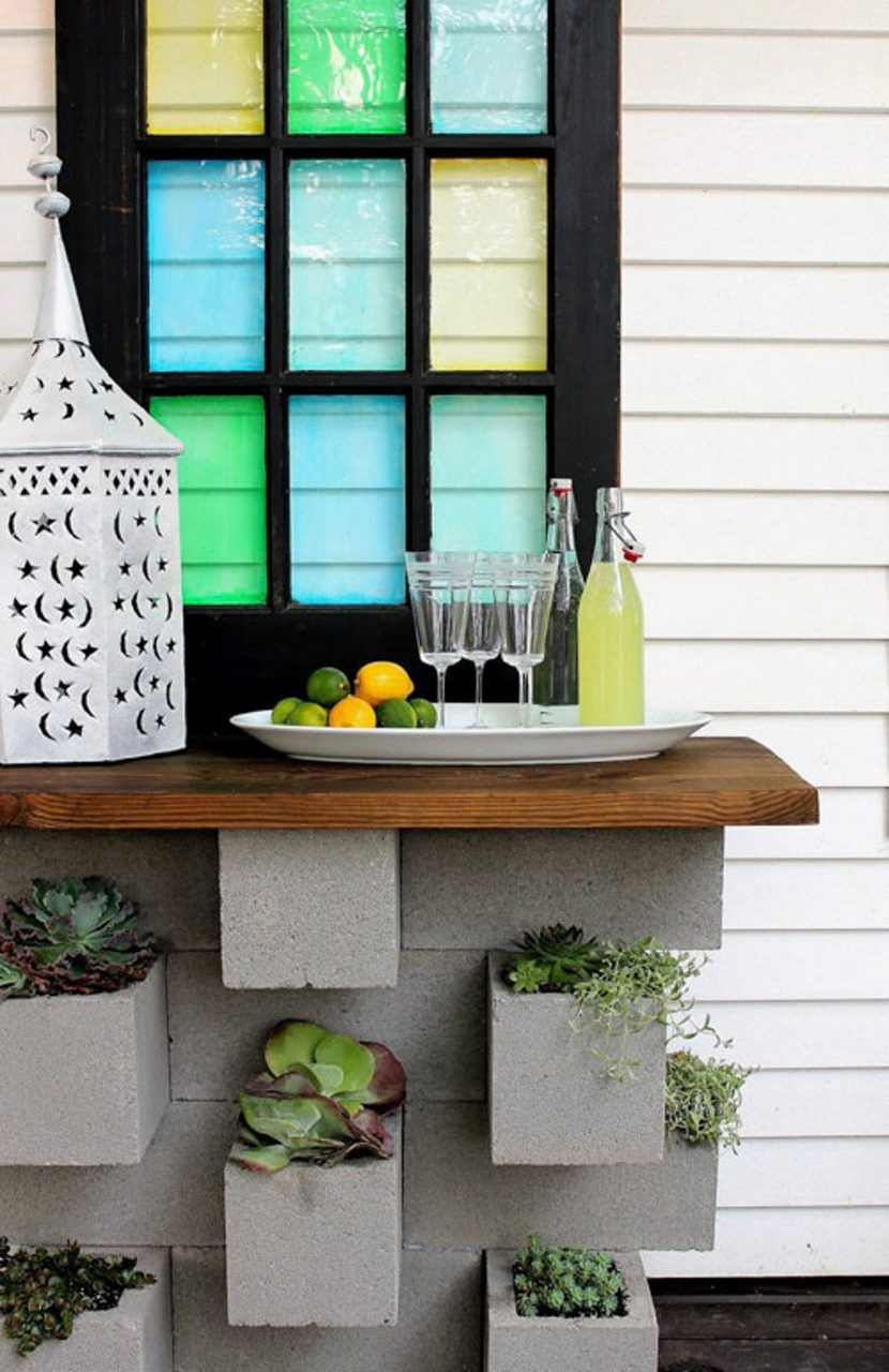 A Diy Concrete Block Planter Bar Outdoor Living Diy Outdoor
