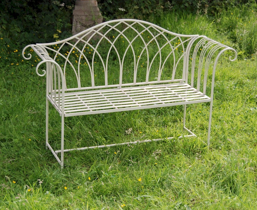 Antique Cream Shab Chic Garden Bench Savvysurfcouk