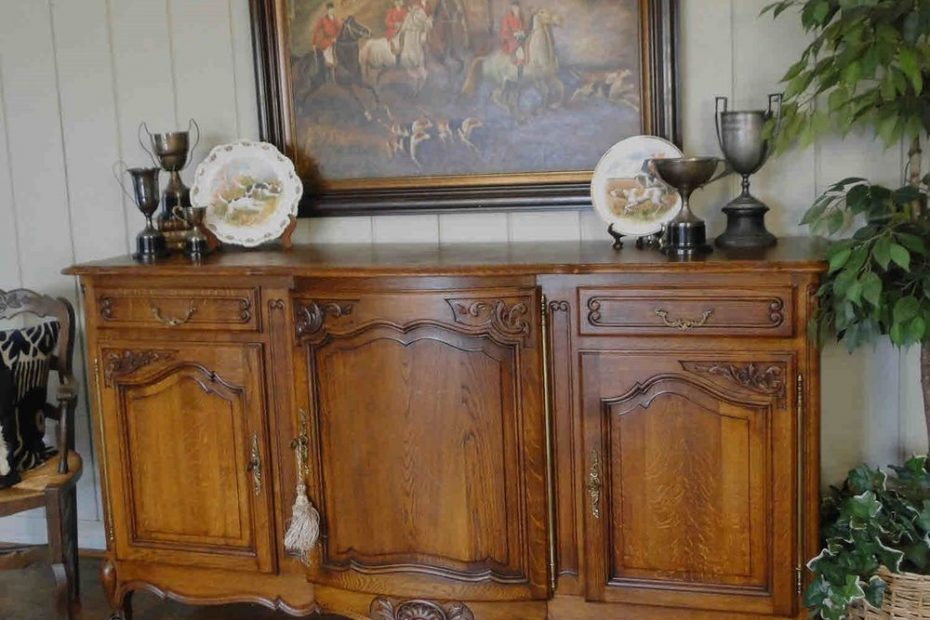 Antique French Country Buffet Sideboard Server Provence Carved Shell