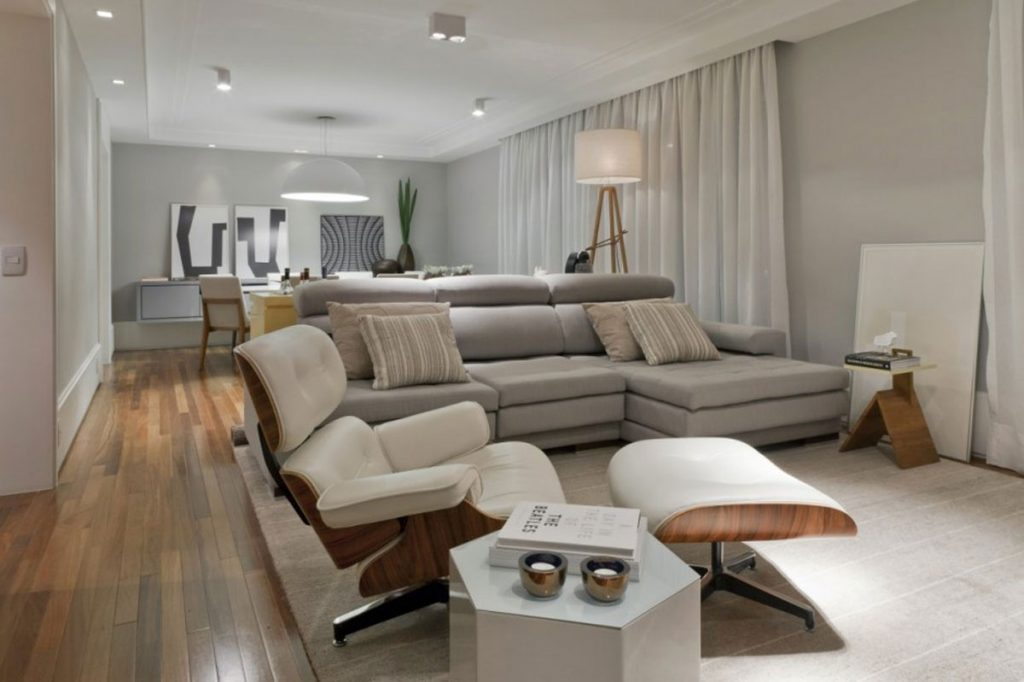 Apartments Modern Light Gray Living Room Feature Silver Chaise