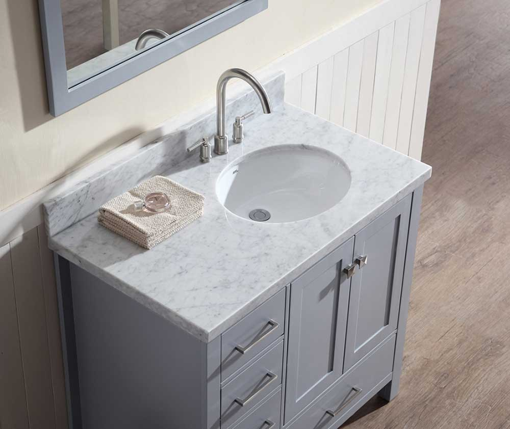 Ariel Cambridge 37 Single Sink Vanity Set W Right Offset Sink In