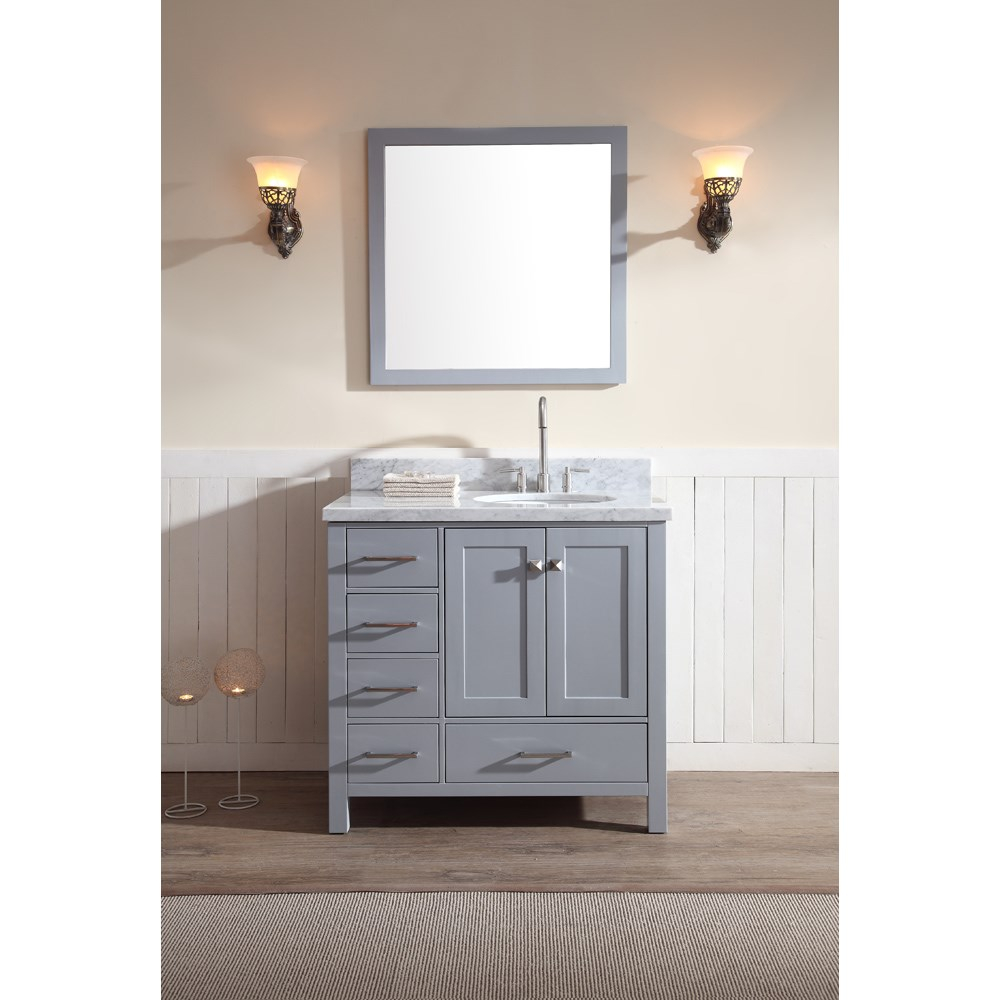 Ariel Cambridge 37 Single Sink Vanity Set With Right Offset Sink