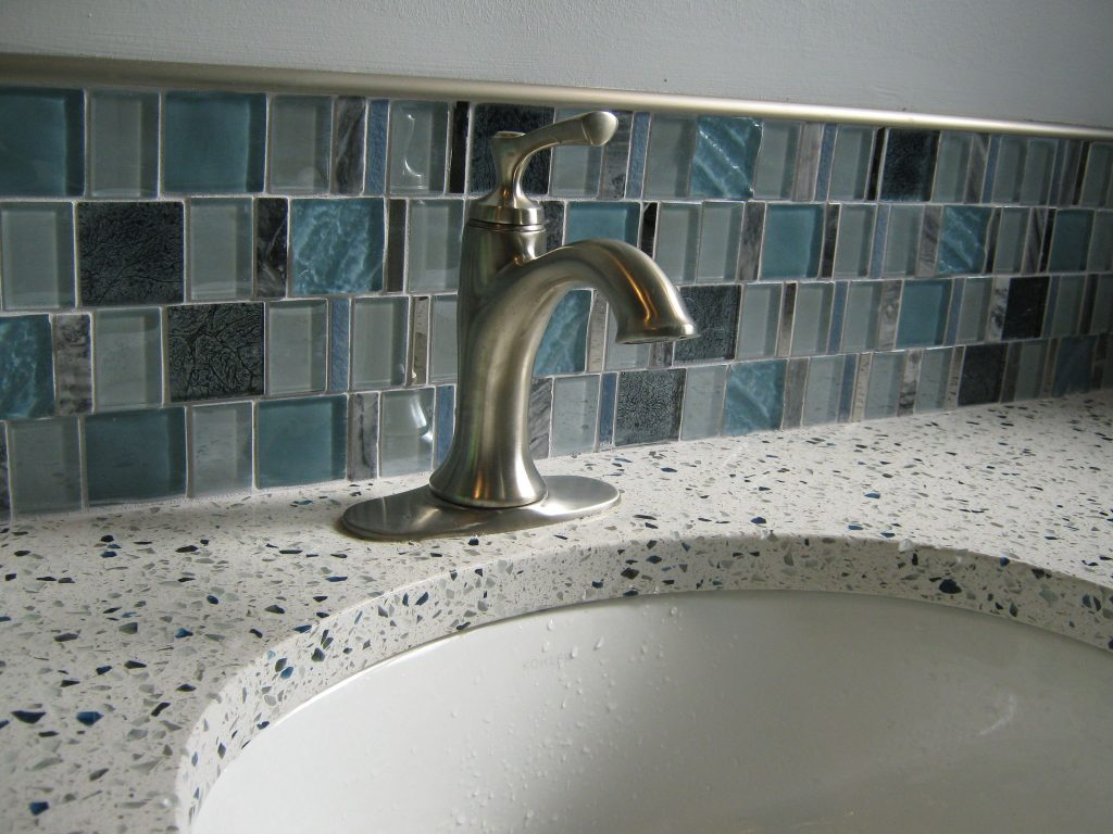 Astronomers Light Decorative Tile And Curava Recycled Glass Vanity