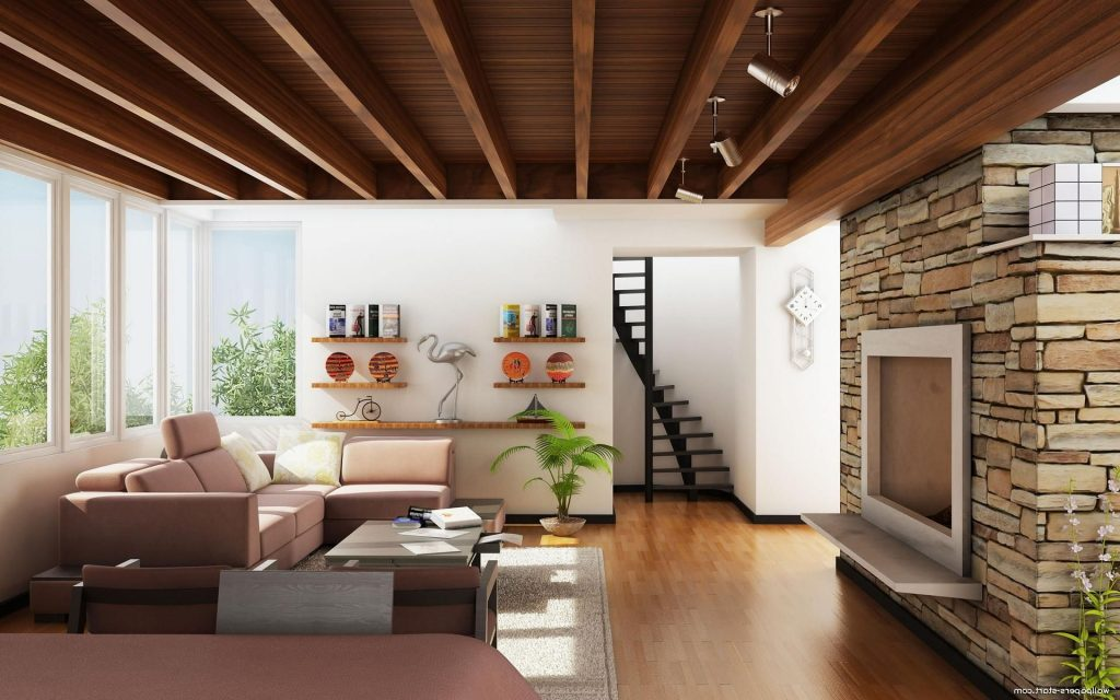 Awesome Living Room Decor With Creative Wooden Ceiling And Wall