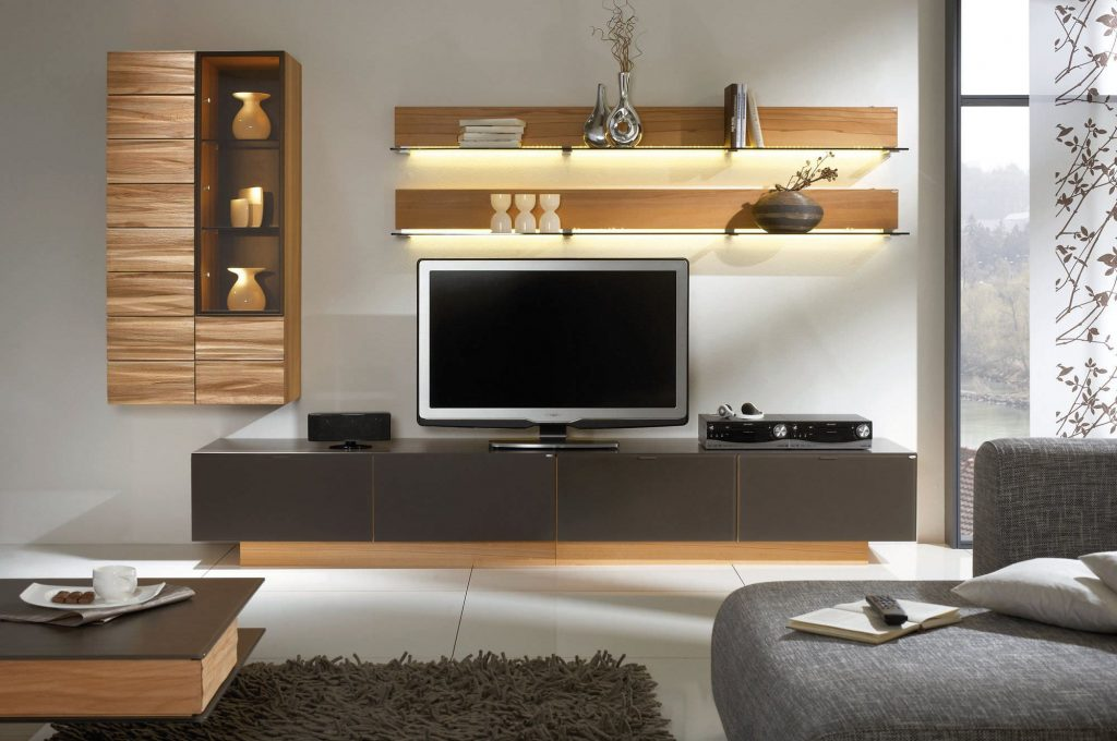 Awesome White Brown Wood Glass Cool Design Contemporary Tv Wall