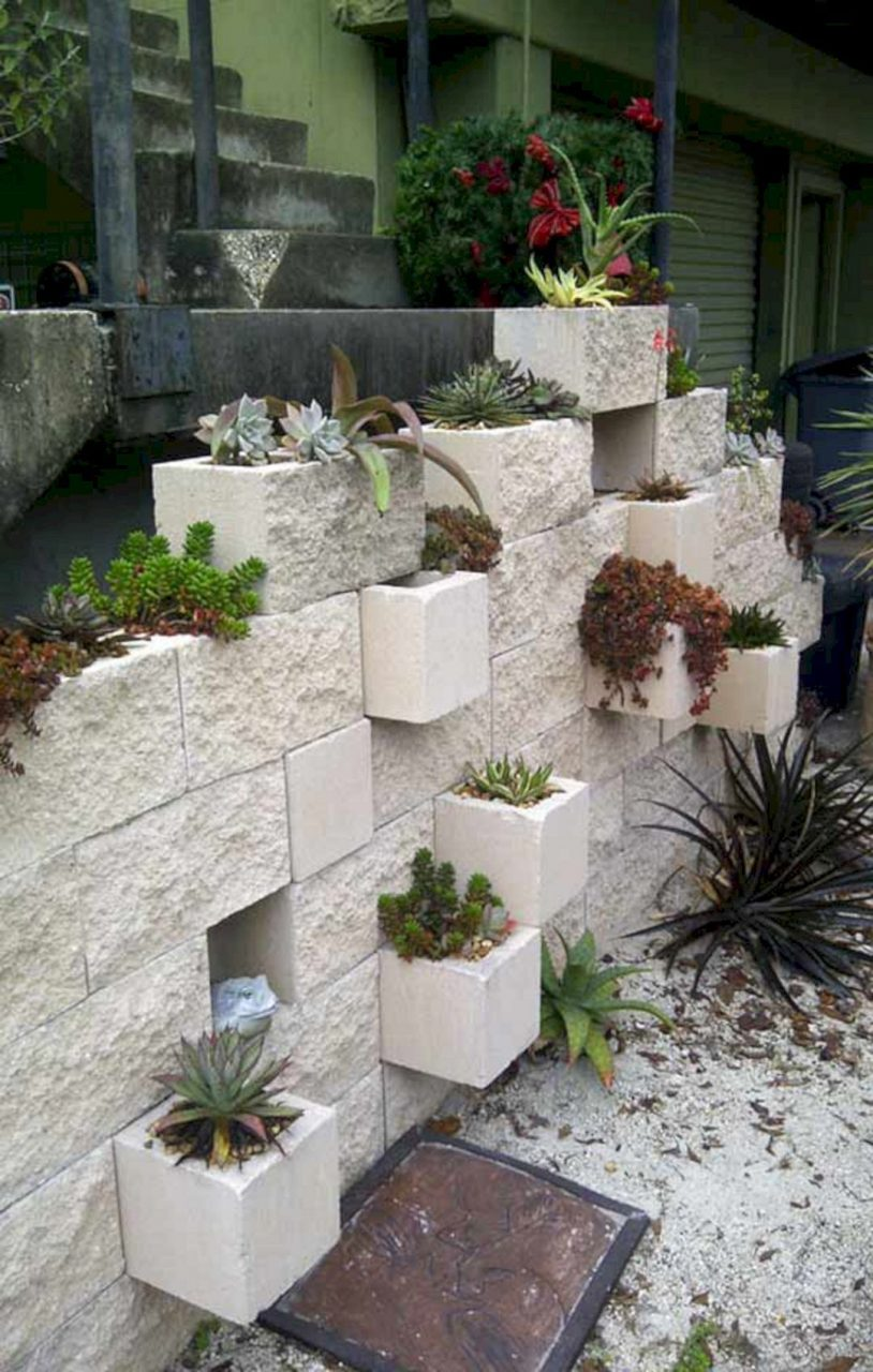 Bar And Cinder Block Planter Diy Outside Pinterest Garden