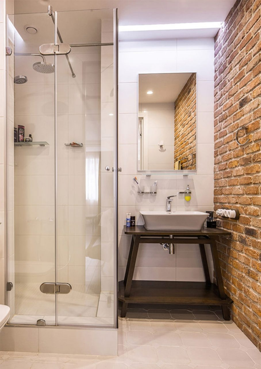Bathroom Small Bathroom Shower With Brick Wall Decor 19 Masculine