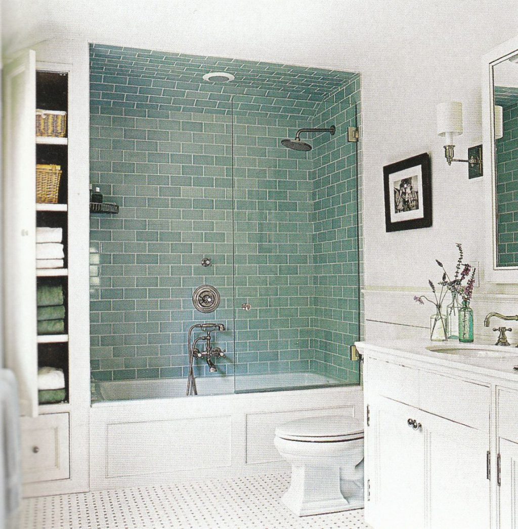 Bathroom Upgrade Ideas Blue Subway Tile With Bathtub Shower Combo In